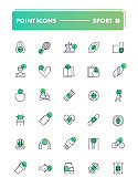 Set of 30 line icons. Sport and recreation