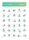 Set of 30 line icons. Camping