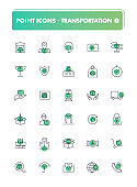 Set of 30 line icons. Transportation