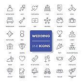 Line icons set. Wedding