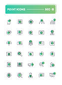 Set of 30 line icons. SEO and SMM