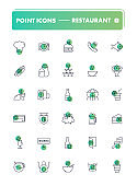 Set of 30 line icons. Cafe and restaurant