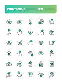 Set of 30 line icons.  Eco