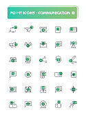 Set of 30 line icons. Communication