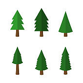 Cartoon christmas trees icons isolated on white background. Vector illustration.
