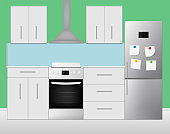 Realistic cooking room interior. Vector illustration.