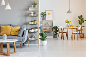Orange pillows on grey settee in spacious flat interior with chairs at wooden table. Real photo