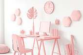 Pink living room with desk