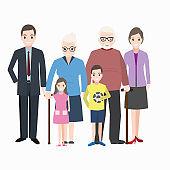 Family icon, Happy family character icon illustration
