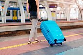 Woman with her luggage on train station