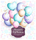 Happy birthday greeting card. Retro vintage pastel party balloons, streamers, paper label with stylish lettering. Vector.