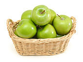 Green apples in basket on a white background