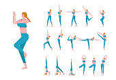 Set with beautiful Caucasian woman in poses of yoga.