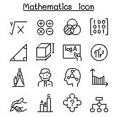 Mathematics icon set in thin line style