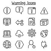 Warning, Caution, danger icon set in thin line style