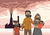 Family in gas masks on smoking industrial chimney background. Environmental problems, air pollution. Flat vector illustration. Horizontal.