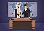 Arab and European politicians or businessmen shaking hands. Government summit. Vector characters illustration.