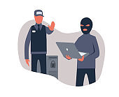 A hacker with a laptop and a police officer, concept on the topic of cybersecurity. Vector illustration, isolated on white.