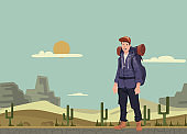 A young man, backpacker in the desert. Hiker, Explorer. Vector Illustration with copy space.