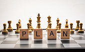 Chess board and the words 'plan' - Business planning concepts.
