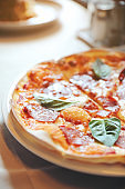Hot Pepperoni Pizza in dish , Italian food