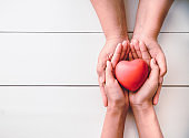 The hand of an adult holding a child's hand with a red heart in his hand. The concept of love and concern for the family. Protecting women and children