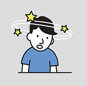 Confused boy seeing spinning stars. Loss of consciousness flat design icon. Flat vector illustration. Isolated on gray background.