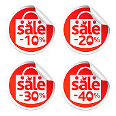 Easter sale stickers 10,20,30,40 with egg in the grass and chicken