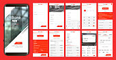 Design of the mobile app UI, UX. A set of GUI screens for mobile banking