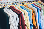 Closeup of shirts in the shopping mall