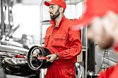 Portrait of a two auto mechanics at the car service
