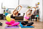 Women exercising at home