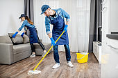 Professional cleaners in the apaartment