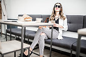 Businesswoman in the cafe