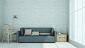 Relax loft space Decorative wall concrete in condominium - 3D Rendering