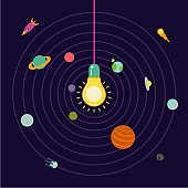 Creative space. Light lamp in the center of the solar system.