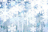 White and blue snowflake for background or texture.