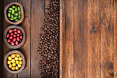Coffee beans and fresh berries beans