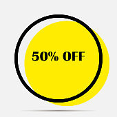 Vector label 50% sale. Layers grouped for easy editing illustration.  For your design.