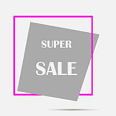 Vector label  super sale. Layers grouped for easy editing illustration.  For your design.