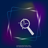Pulse and glass magnifier vector neon light illustration. Heartbeat symbol of cardiology. Layers grouped for easy editing illustration. For your design.