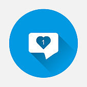 Vector Like, comment, social activity icon on blue background. Flat image  The hand presses on the likes with long shadow. Layers grouped for easy editing illustration. For your design.