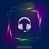 Headphones vector neon light  icon. Flat headphones icon. Layers grouped for easy editing illustration. For your design