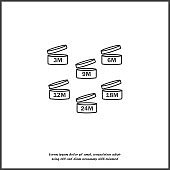 Vector set of icons indicating the period of the product after the opening. Expiration date after opening the package icon on white isolated background.