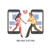 Vector illustration for online dating app users. Flat infographics of man and woman acquaintance in social network.