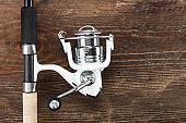 Fishing feeder and reel. space for text.
