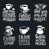 Vector handwritten coffee phrases set. Quotes typography with cups and kettles images. Calligraphy illustrations.