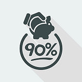 90% Discount label icon