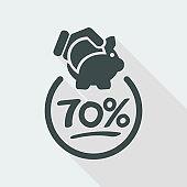70% Discount label icon