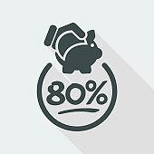 80% Discount label icon